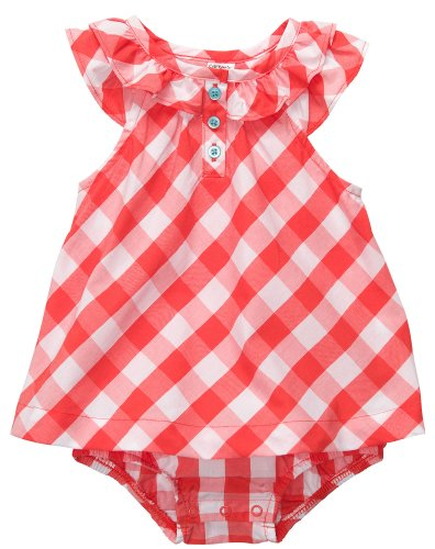 - Carter's Flutter Sleeve Plaid Sunsuit RED 24 Mo