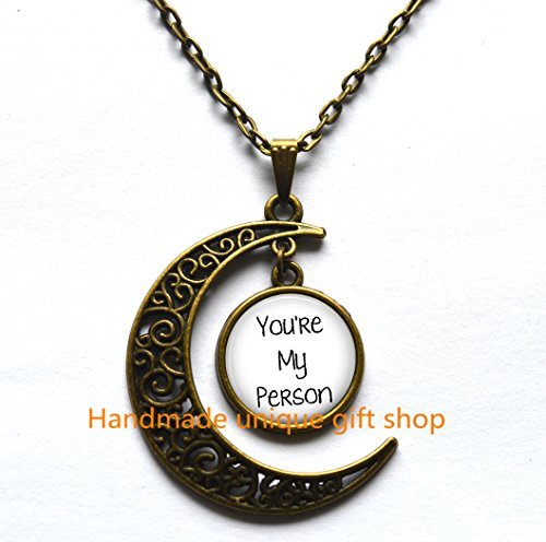 [Delicate Necklace,Crescent Moon Necklace,Best Friend Necklace,You're My Person Necklace,Graduation Gift,Mom Daughter Jewelry,Bride Gift from Groom,Going Away Gift,Mom Daughter] (Best College Halloween Outfits)