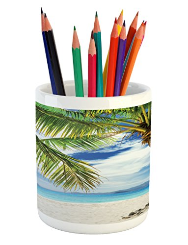 Lonely Palm Tree Pencil Pen Holder by Ambesonne, Sandy Beach Isolated Philippines Hot Sunny Travel Destination, Printed Ceramic Pencil Pen Holder for Desk Office Accessory, Green Coconut - Sunnies Philippines