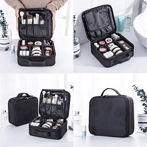 Bvser Travel Makeup Case, Cosmetic Train Case Organizer Portable Artist Storage Makeup Bag with Adjustable Dividers for Cosmetics Makeup Brushes Toiletry Jewelry Digital Accessories - Black