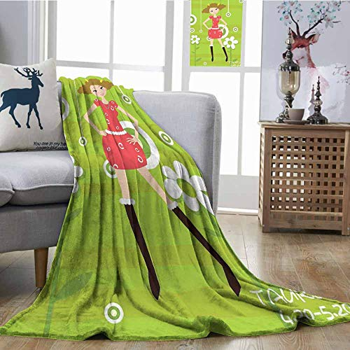 (SONGDAYONE Lightweight Blanket Fashion Taurus Young Girl Standing on Green Floral Backdrop Teenage Cartoon Warm Blanket W70 xL84 Multicolor)