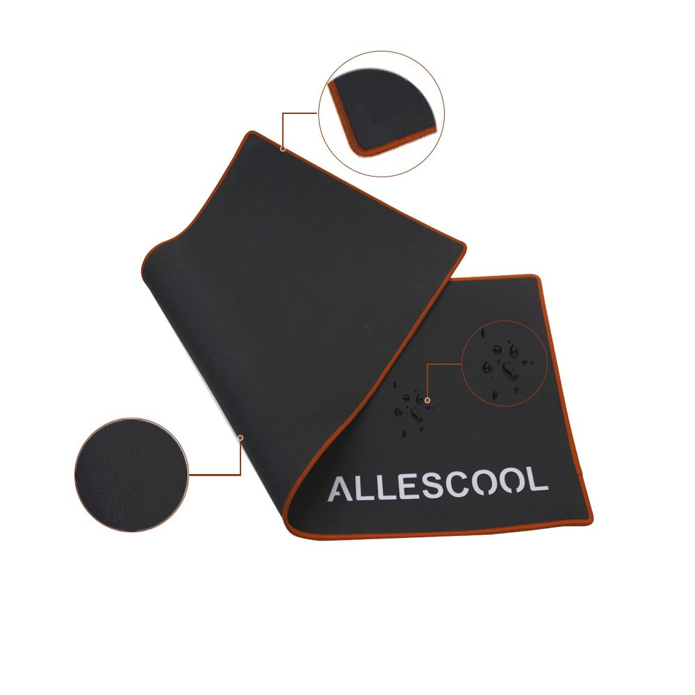 Game Mouse Pad, ALLESCOOL Large Computer Mouse Pad Smooth Surface and Stitched Edges Non-slip Rubber Base(700*300*3mm,Black with Red edge)