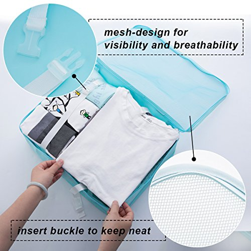 8 pcs Large Packing Cubes Travel Luggage Organizer Set With Shoe Bag (turquoise) by VEETON (Image #3)