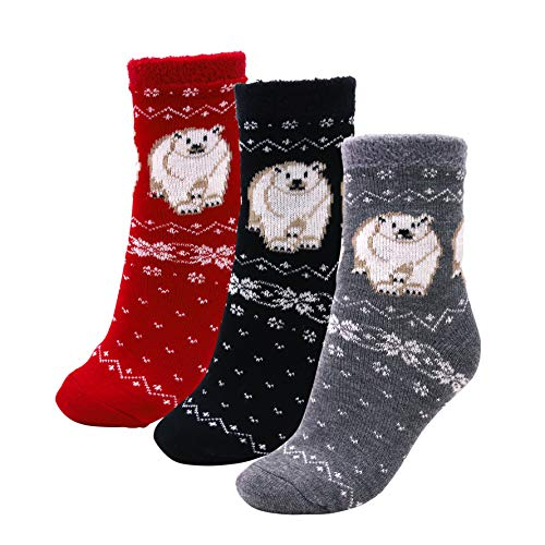 3 Pairs Cozy Cabin Socks for Women - Aloe Infused Moisturizing Fuzzy Fluffy Soft Holiday Christmas