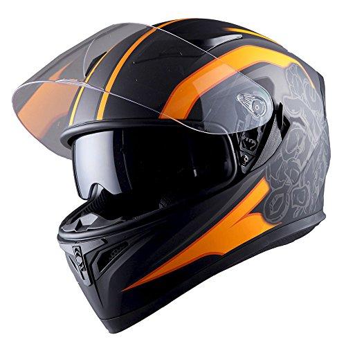 Orange Face Helmet - 1STorm Motorcycle Street Bike Dual Visor/Sun Visor Full Face Helmet Mechanic Matt Orange, Size Large (57-58 CM,22.4/22.8 Inch)