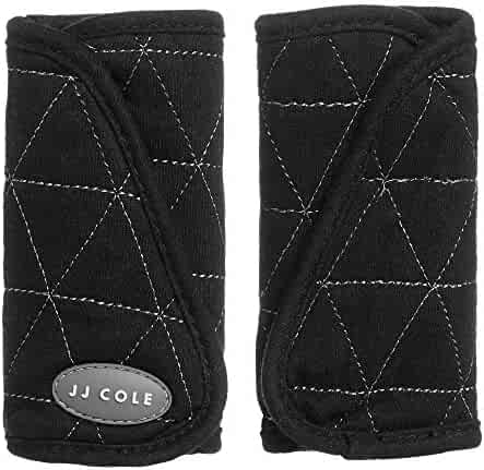 JJ Cole - Reversible Strap Covers, Seat Belt Cushion to Support Infants and Toddlers in the Car Seat or Stroller, Black Tri Stitch, Birth and Up