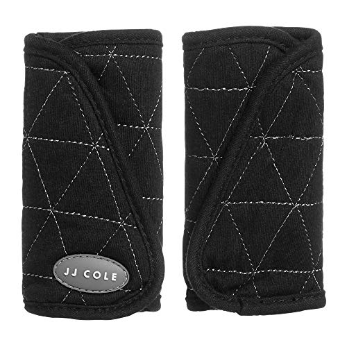 (JJ Cole - Reversible Strap Covers, Seat Belt Cushion to Support Infants and Toddlers in the Car Seat or Stroller, Black Tri Stitch, Birth and Up)