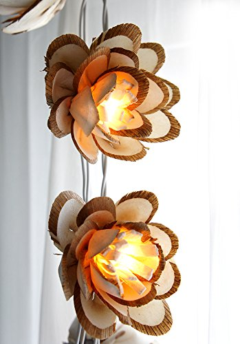 Exotic Elegance Set of 20 Handmade Blooming Lotus Design Sola Wood UL String Lights for Home Decor/ Night Light Party.