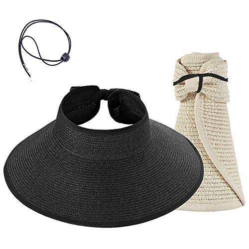 Women Sun Visors Foldable Straw Hats Summer Beach Packable Hat Floppy Wide Brim Cap Big Heads Sombrero De Playa para Mujer UPF 50+ Black+Beige ()