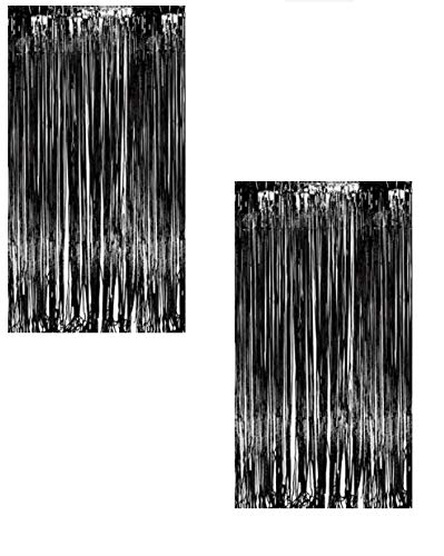 Ifavor123 Decorative Tinsel Foil Metallic Fringe Party Door Window Curtains - 3 Feet Wide X 8 Feet Long (2 Pack, Black)]()