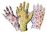 Gardening Gloves for Women - 3 Pack (Medium) - Breathable Nylon, Nitrile Coated Palms - Light Gardening - Easy to Clean - Great Gardening Tool for Women For The Garden in 3 Stylish Designs