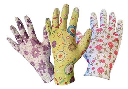 Gardening Gloves for Women - 3 Pack (Medium) - Breathable Nylon, Nitrile Coated Palms - Light Gardening - Easy to Clean - Great Gardening Tool for Women For The Garden in 3 Stylish Designs
