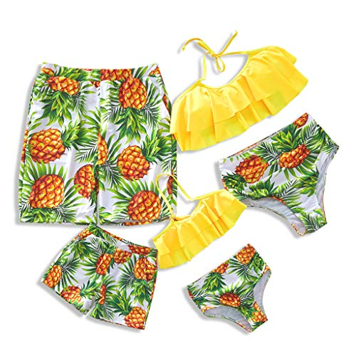 Yaffi Family Matching Swimwear Two Piece Vintage Pineapple Printed Monokini Swimsuits Men: L