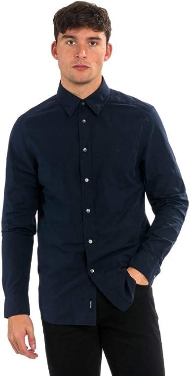 Calvin Klein Camisa de popelín con botones ocultos para hombre: Amazon.es: Ropa y accesorios