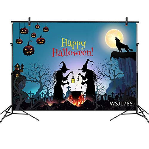 LB Halloween Backdrop for Photography Halloween Party Decoration Witch in Spooky Ghost Cemetery Wolf Moon Pumpkin Decor Photo Background 7x5ft Custom Vinyl Photo Studio Props]()