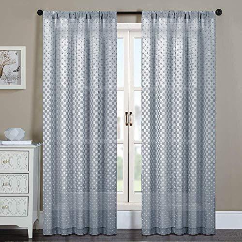 Everyday Celebration Burlap Semi Sheer Curtain Panels 84 Inch, Jacquard Polka Dot Grommet/Rod Pocket Sheer Curtains Window Treatment for Living Room (Charcoal Black, 1 Panel)