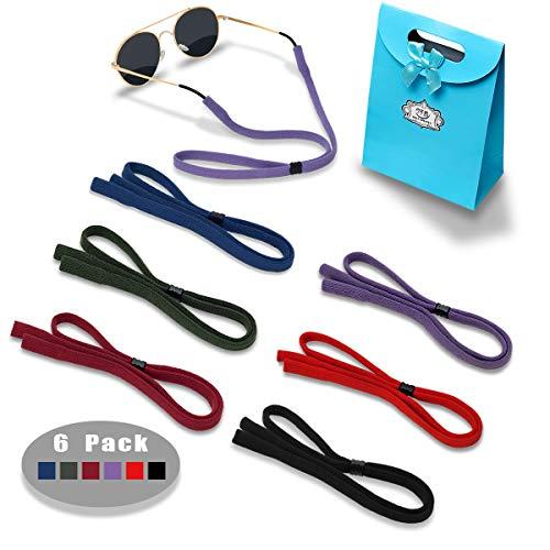 Eyeglasses Holder Strap Cord - Sunglasses Eyewear Retainer-Glasses Cord Lanyard - 6 Pack (Purple, Army green, Dark red, Royal blue, Red, Black)