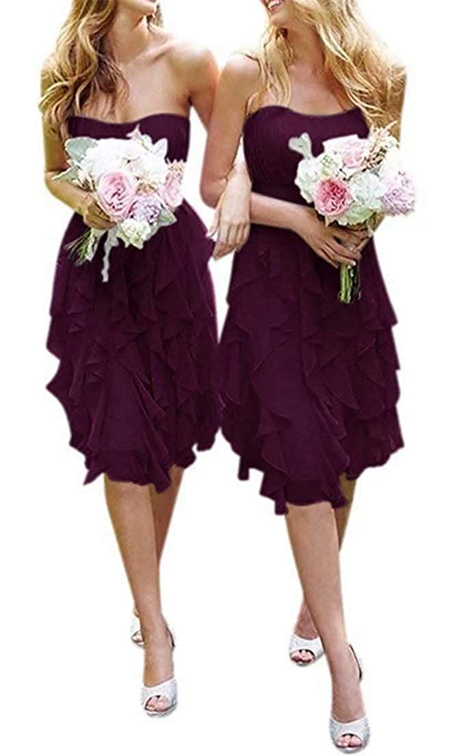 Plum Women's Knee Length Country Bridesmaid Dress Western Wedding Guest Dress