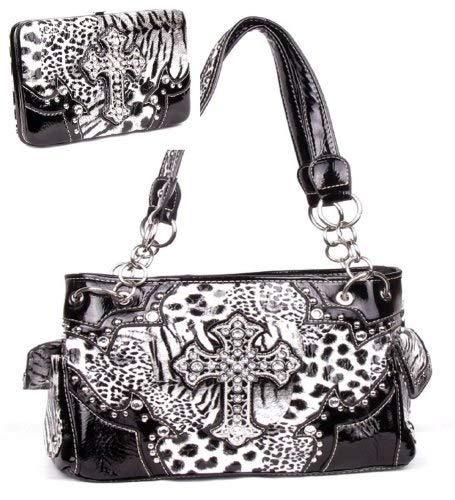 Western Leopard Cross Black Rhinestone Pocket Purse W Matching Wallet