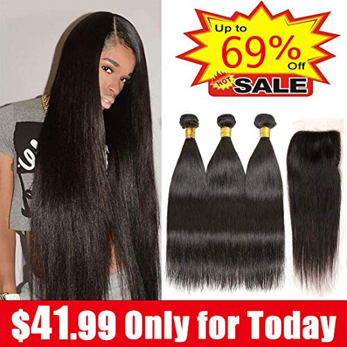 Brazilian Straight Hair 3 Bundles With Closure 8A 100% Unprocessed Virgin Brazilian Human Hair Weave Weft Extensions With 4×4 Lace Closure Natural Black Color (10 12 14+10, Free Part)