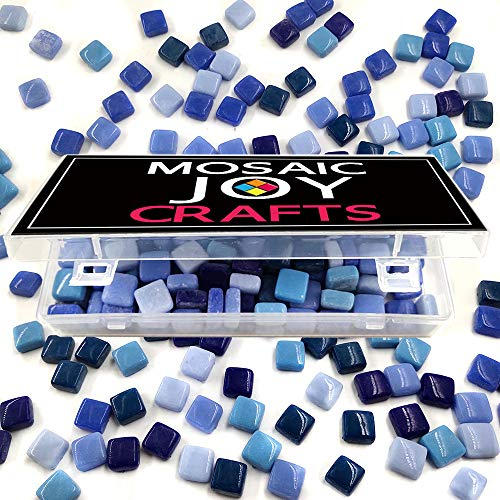 (Mosaic Tiles Mixed 6 Colors Blue Square Mosaic Stained Glass Pieces Supplies for DIY Crafts Home Decoration Size 12mm by Mosaic Joy (11 oz, Blue Mixed))