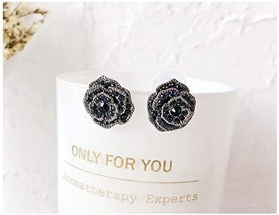 b184cc8ec 18K Rose Gold/Silver Plated Stud Earrings,Black Rose Flower Hypoallergenic  Studs For Women