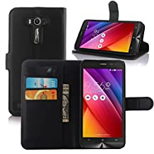 Asus Zenfone 2 Laser Case, Fettion Premium PU Leather Wallet Cases Flip Cover with Stand Card Holder for ASUS Zenfone 2 Laser (ZE550KL / ZE551KL) 5.5 Inch Smartphone 2015 Release (Wallet - Black)
