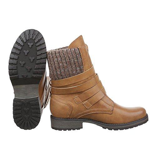 Ital-Design - botas estilo motero Mujer marrón claro