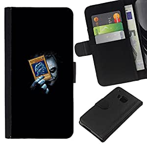 NEECELL GIFT forCITY // Billetera de cuero Caso Cubierta de protección Carcasa / Leather Wallet Case for HTC One M7 // Divertido Joker Playing empuje Tarjetas