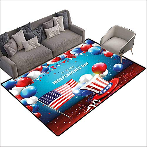Indoor/Outdoor Rubber Mat 4th of July,Festive Celebration of The Important Day Uncle Sam Hat Flag Balloons,Blue Red and Pearl 64