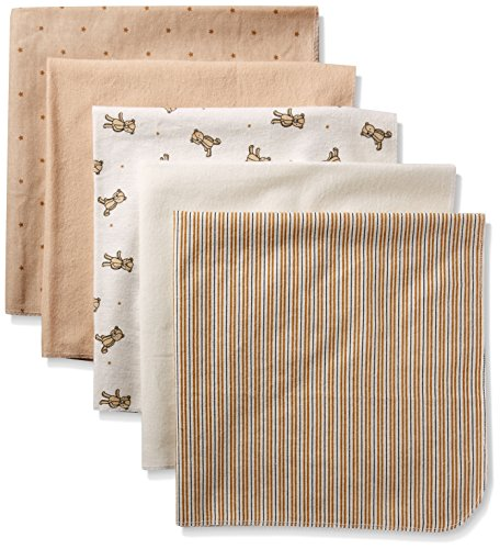 Rene Rofe Baby Baby 5 Piece Flannel Blanket Set, Natural Teddy Bear, One (Baby Blanket Color)