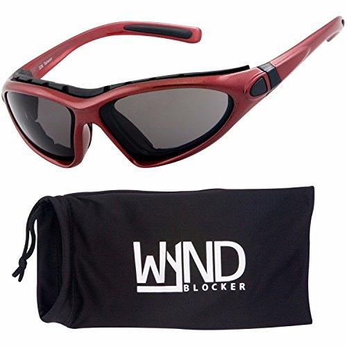 WYND Blocker Vert Motorcycle & Boating Sports Wrap Around Polarized Sunglasses (Red/Smoke Lens)
