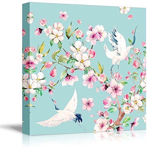 Square Light Blue Watercolor Style Painting a Two Cranes Blooming Tree Branch