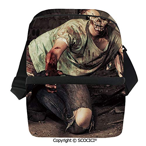 SCOCICI Reusable Insulated Grocery Bags Halloween Scary Dead Man in Old Building with Bloody Nightmare Theme Thermal Cooler Waterproof Zipper Closure Keeps Food Hot Or -