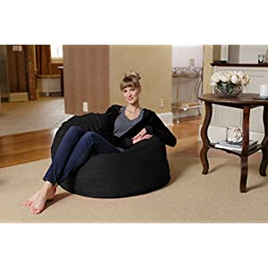 Chill Sack Bean Bag Chair: Large 3' Memory Foam Furniture Bean Bag - Big Sofa with Soft Micro Fiber Cover - Black Micro Suede