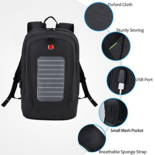 Laptop Backpack, Fanspack Solar Powered Backpack with USB Charging Port Waterproof Oxford Travel Backpack School Daypack for 15.6 inch Laptop and Notebook (Black) by Fanspack (Image #6)