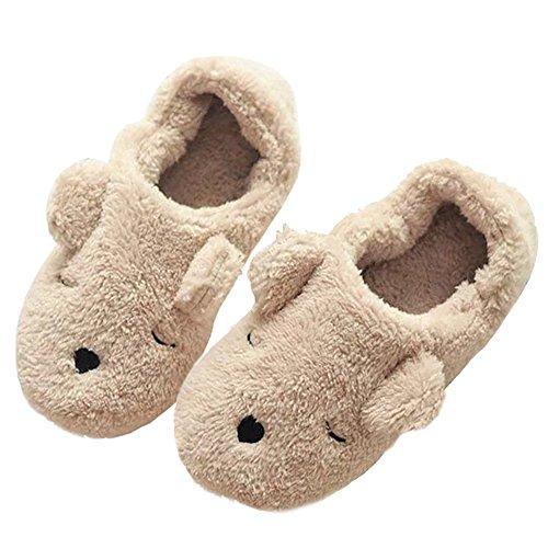 Lacheln Women Indoor Winter Warm Fleece Slippers Ladies Girls Cute Non-Slip Slip-on Soft Plush Home Loafer Shoes,Cartoon - 9' Plush Friends