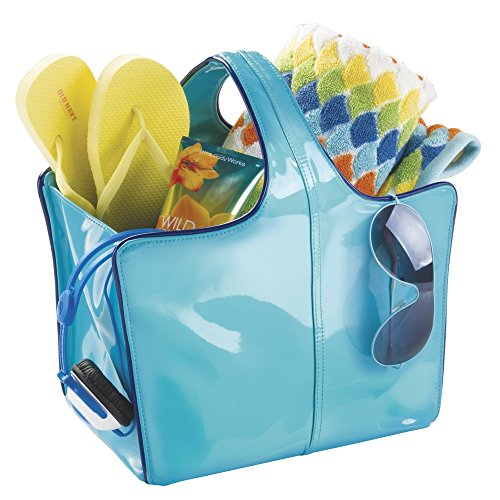 mDesign Vegan Patent Leather Tote for Bathroom Shower, College Dorm, Beach - Medium, Teal/Navy