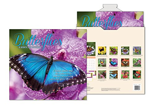 Butterfly Calendar - 16 Month Premium Religious Wall Calendar 2018 - Butterflies - Each Month Displays Full-Color Photograph & KJV Scripture. Printed on Embossed Heavyweight Paper Stock
