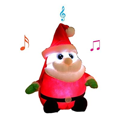 ff13e4571c7ad Tonsen Animated Musical Santa Claus Figure Soft Plush Stuffed Doll LED  Lights up Singing Christmas Figurine