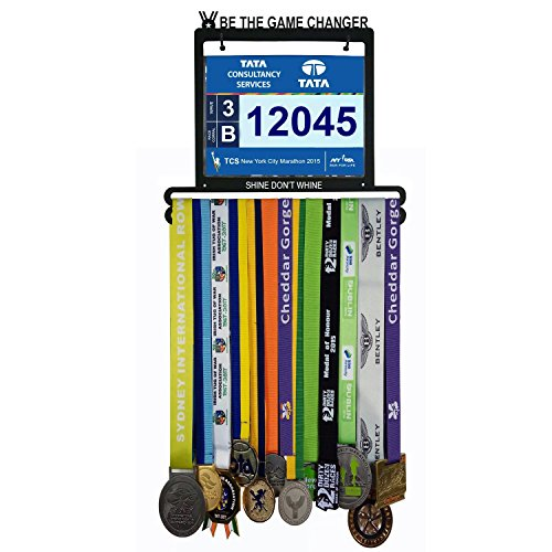 Wall Mounted Medal Hanger| Medal Rack for Runners, Gymnastics, Soccer, Wrestling, Athletics | Unique Race Bib Holder and Medal Display - Race Frame Number