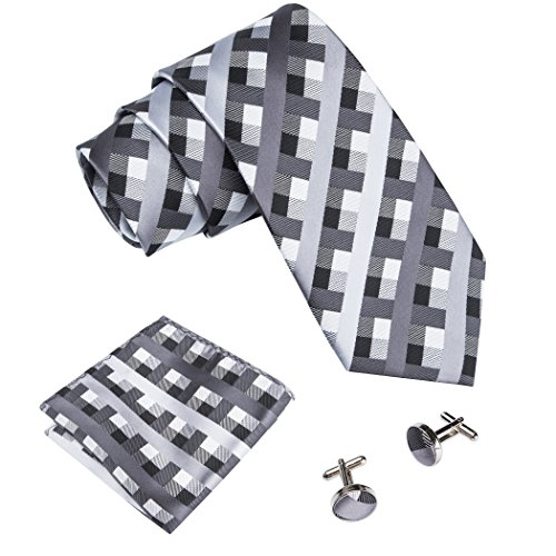 (Barry.Wang Silver Grey Mens Tie Handkerchief Set Classic Business Ties,Gray,One Size )