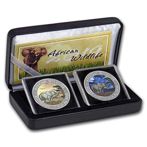 DE 2019 Somalia 2-Coin 1 oz Silver Elephant Set Day/Night (Colored) Brilliant Uncirculated (Coin Set Elephant)