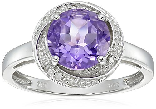 10k White Gold Amethyst and Diamond Accent Swirl Ring, Size 6 ()