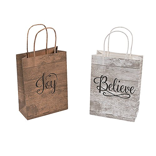 Fun Express Religious Medium Kraft Bags | 12 Count | Great for Christmas Parties, Holiday Celebrations, First Communion