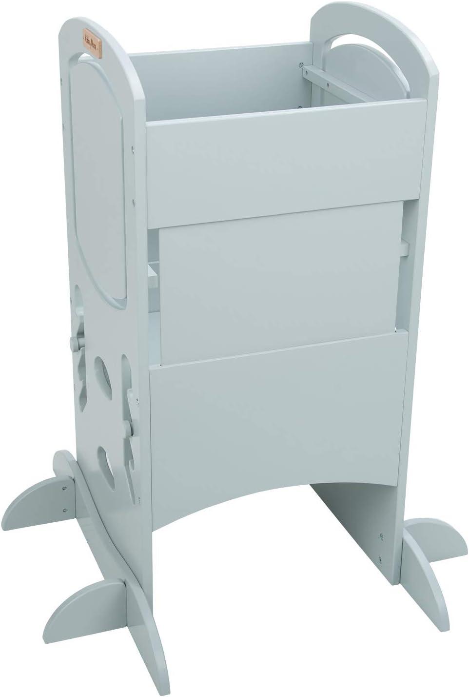 KiddyMoon Tour D'Apprentissage/D'Observation Montessori 99X48,6X46 Cm Kitchen Helper ST-002, Contreplaqué/Gris