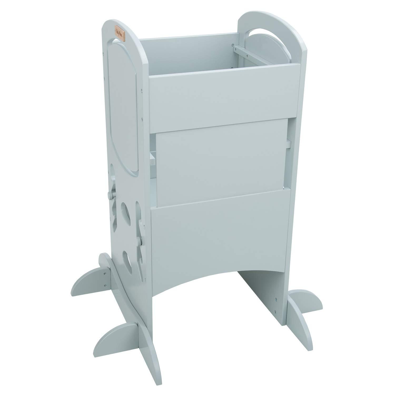 Compensato Legno//Bianco KiddyMoon Torre Di Apprendimento Monocolorata Per Bambini 99X48,6X46 Cm ST-002