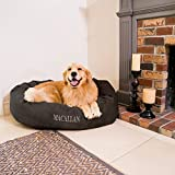 Personalized Majestic Pet Bagel Dog Bed - Machine Washable - Soft Comfortable Sleeping Mat - Durable Supportive Cushion Custom Embroidered - available replacement covers - Large Brown Chocolate