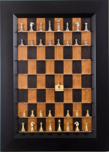 Italfama Chess Pieces on Small Black Cherry Straight Up Chess vertical chess board with Flat Black frame (Straight Up Chess Board)