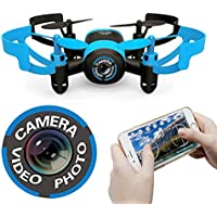 Haktoys HAK900F Mini FPV Drone (WiFi Real-Time Video) Camera 2.4GHz 4 Channel LED RC Quadcopter, 6 Axis Gyroscope - Colors May Vary